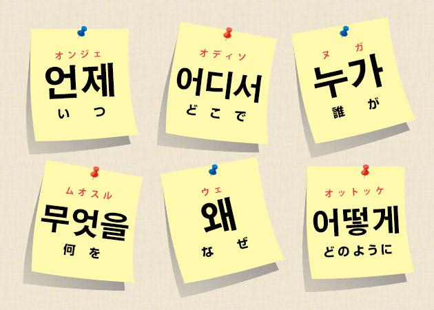 韓国語 5W1H いつ どこで だれが 何を なぜ どのように