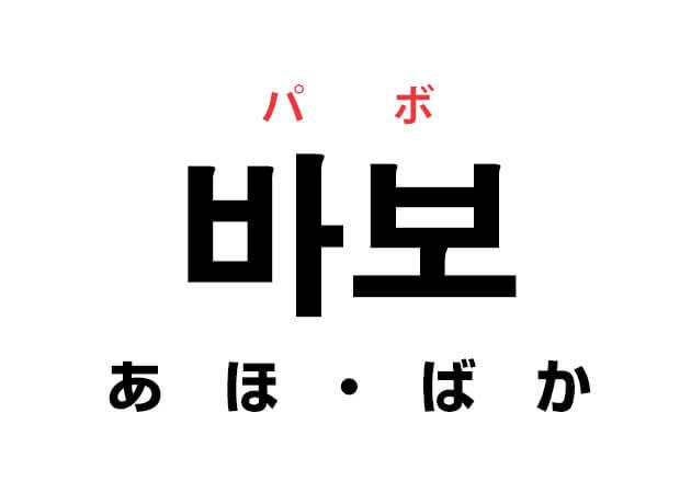韓国語のあほ・ばか 바보