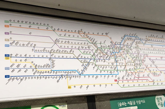 ソウル市近郊まで伸びている地下鉄全体の路線図はこちら