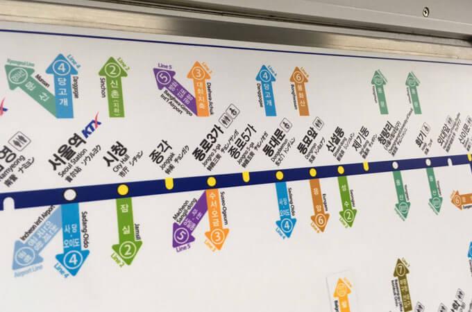 地下鉄1号線に乗っている時の路線図ですね。 ソウル駅から私がよくいく鍾閣、ショッピングが楽しめる東大門などにいける路線ですね。