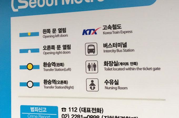 韓国ソウルの車内路線図の翻訳