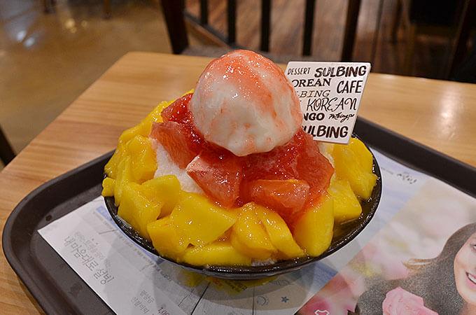 韓国で今人気急上昇中のアップルマンゴーとグレープフルーツの「マンゴグレープフルーツソルビン 망고썸자몽설빙」!