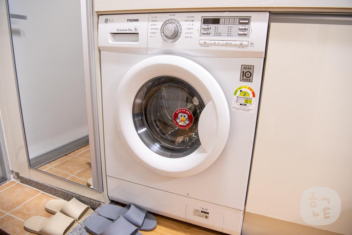 ドラム式洗濯機もホテルの部屋の中にありました。