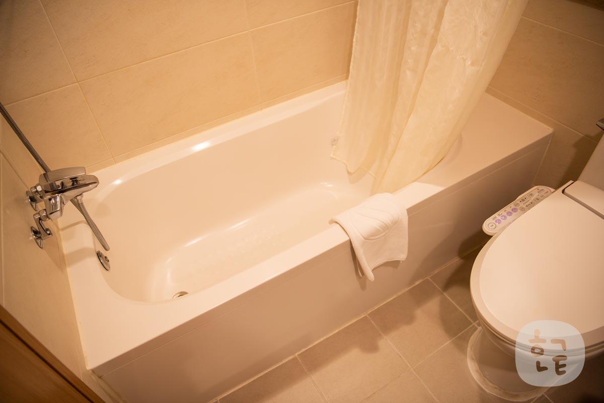 トイレの横にバス・シャワースペース