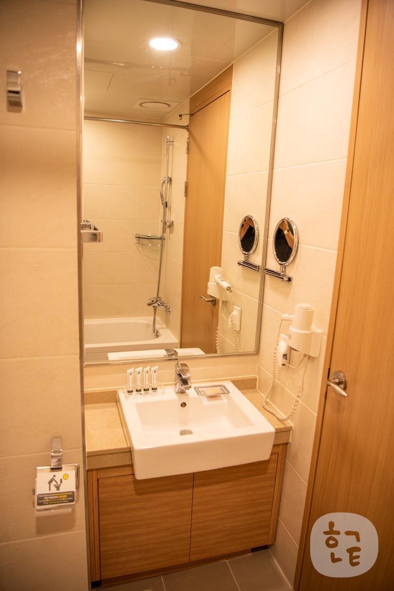 洗面台も大きい鏡があり、とても綺麗で使いやすい